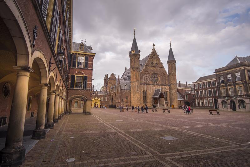Binnenhof in Den Haag, die Niederlande stockfotos