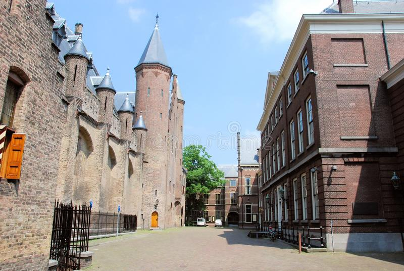 Binnenhof with Gothic Ridderzaal and other buildings for political - The Hague. Gothic Ridderzaal and other old buildings - Binnenhof - The Hague - Complex of stock images