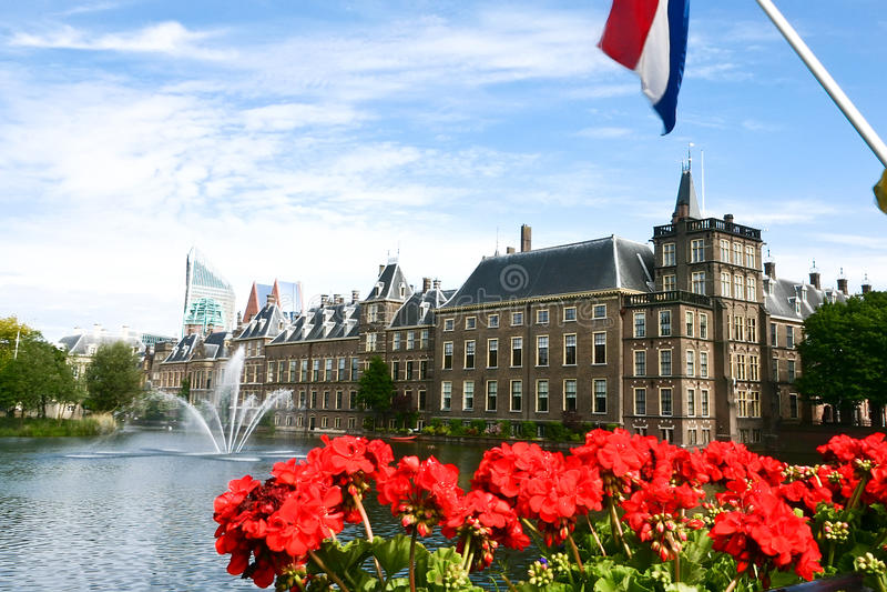 Binnenhof holländsk parlament, The Hague royaltyfri bild
