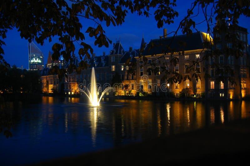 Binnenhof by night stock photos