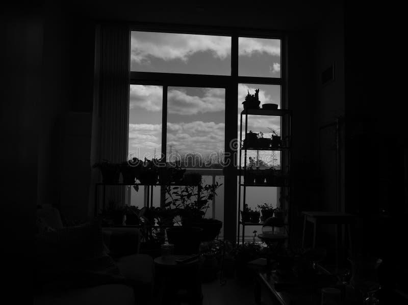 Binnenkant die uit ons flatgebouw met koopflats kijkt stock afbeelding