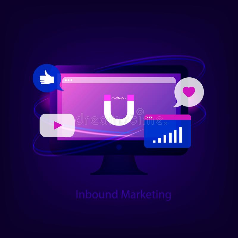 Binnenkomend Marketing concept vector illustratie