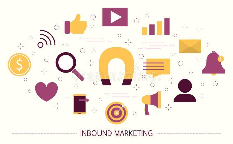 Binnenkomend Marketing concept Magneet als metafoor royalty-vrije illustratie