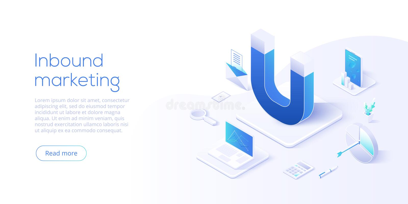 Binnenkomende marketing vector bedrijfsillustratie in isometrische desi royalty-vrije illustratie