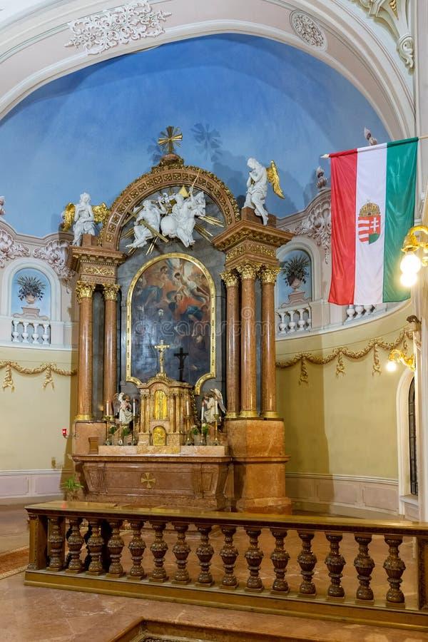 Binnenland in een kerk in stad Pecs van Hongarije, (Kerk St Franci royalty-vrije stock afbeeldingen