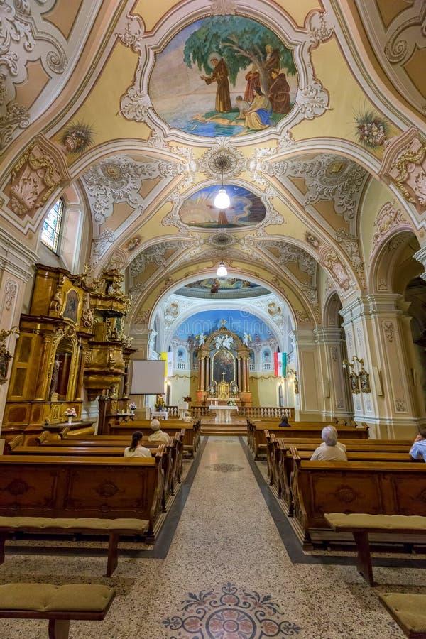 Binnenland in een kerk in stad Pecs van Hongarije, (Kerk St Franci stock afbeelding