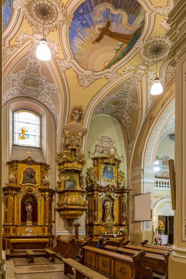 Binnenland in een kerk in stad Pecs van Hongarije, (Kerk St Franci stock foto's