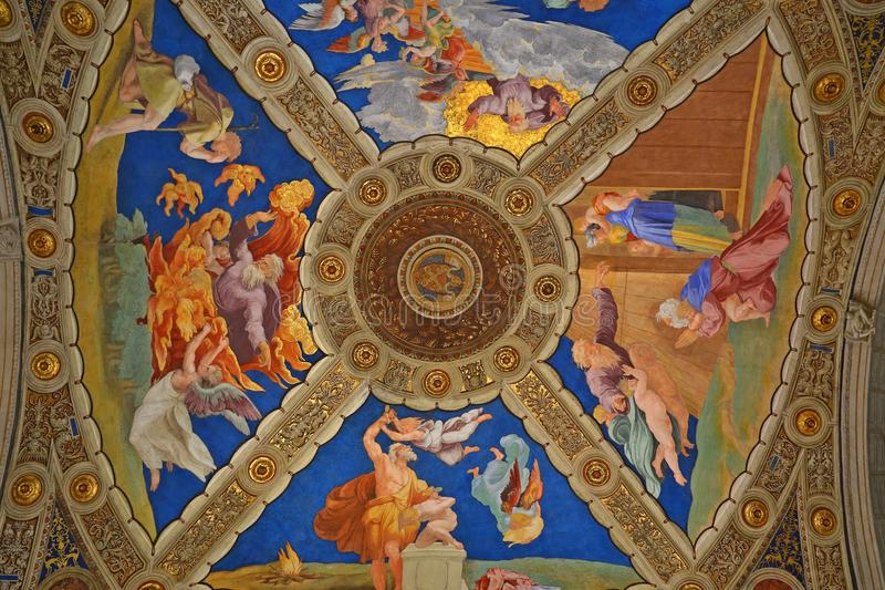 Binnenland en architecturale details van Raphael-ruimten in Vatikaan stock fotografie
