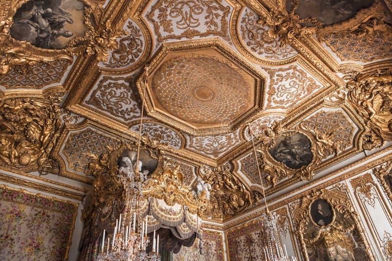 Binnenland en details van Chateau DE Versailles, Frankrijk stock foto