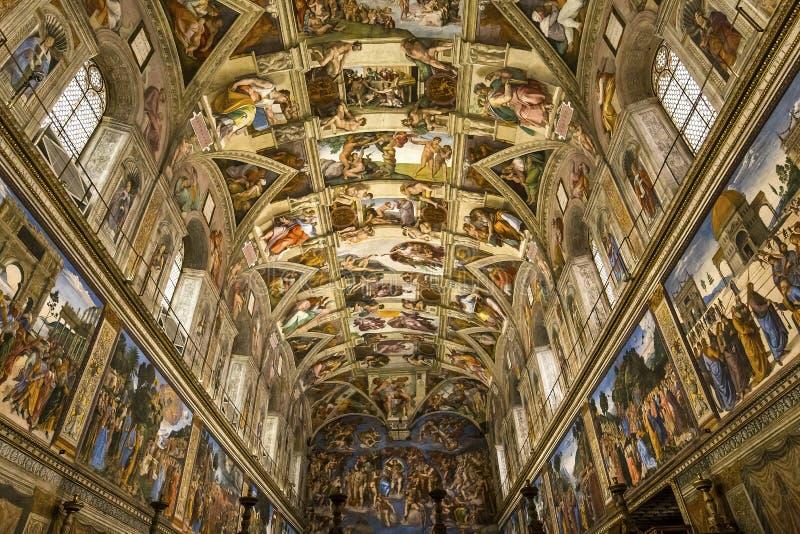 Binnenland en details van de Sistine-Kapel, de stad van Vatikaan royalty-vrije stock afbeeldingen
