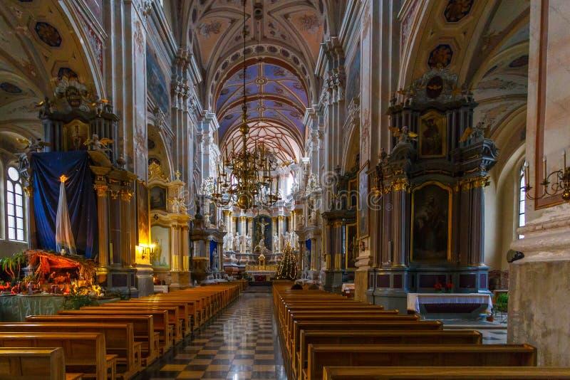 Binnenland en details van Kerk van Heilige Francis Xavier stock afbeeldingen