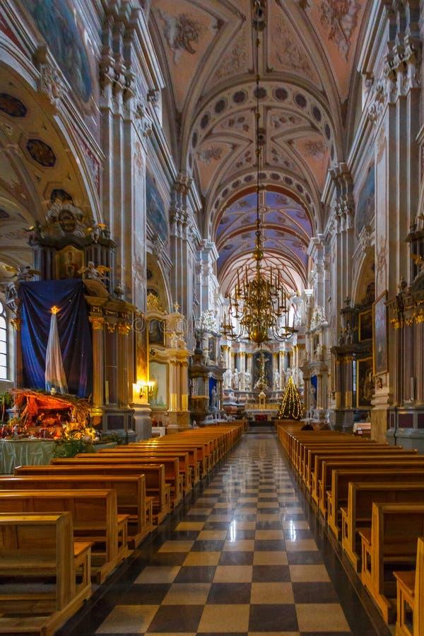 Binnenland en details van Kerk van Heilige Francis Xavier royalty-vrije stock afbeelding