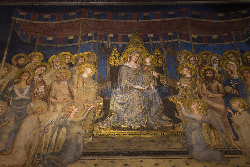 Binnenland en details van Palazzo Pubblico, Siena, Italië stock afbeeldingen