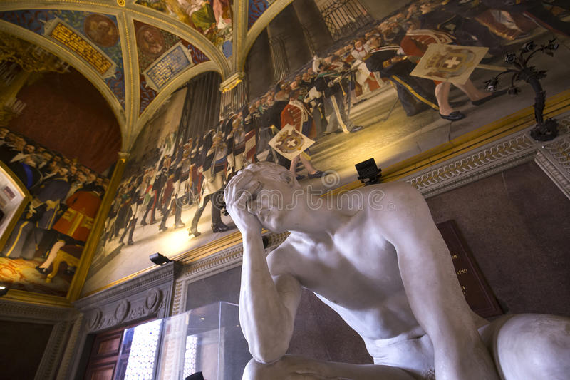 Binnenland en details van Palazzo Pubblico, Siena, Italië stock foto