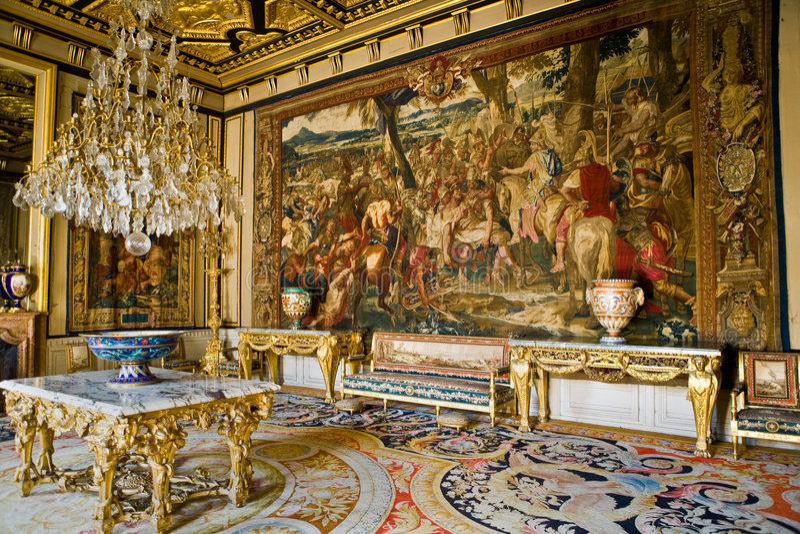 Binnenland in het kasteel Fontainebleau stock afbeelding