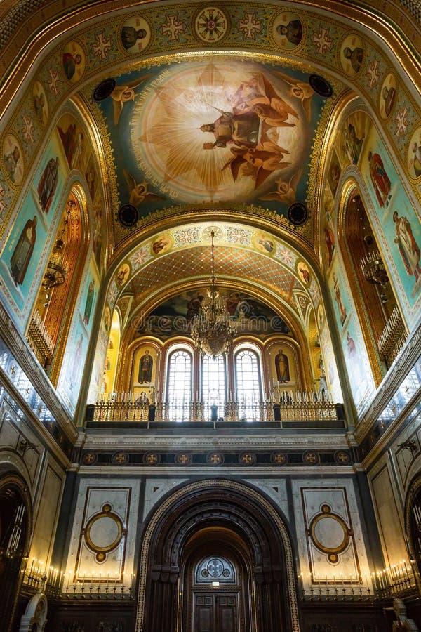 Binnenland in Kathedraal van Christus de Verlosser in Moskou Rusland royalty-vrije stock foto
