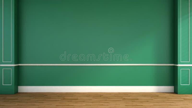Binnenland in klassieke stijl Groen 3D Illustratie stock illustratie