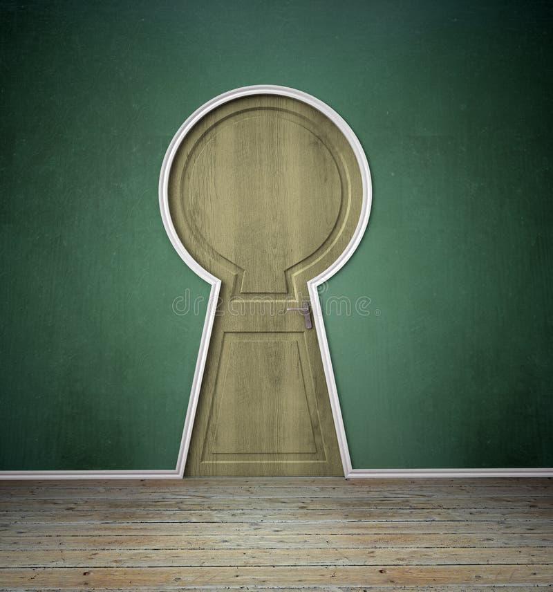 Binnenland met een keyholw gestalte gegeven deur stock illustratie
