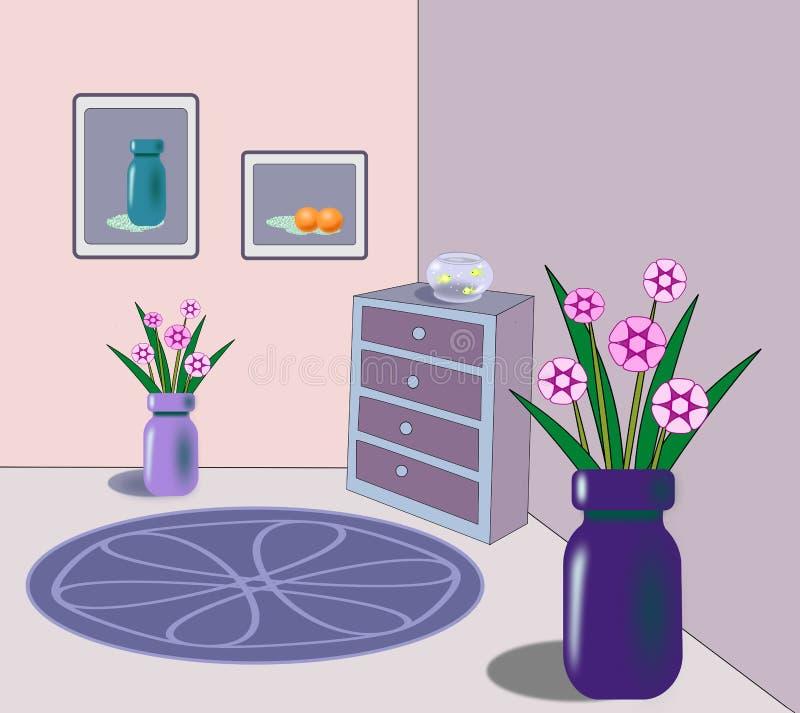 Binnenland met goudviskom en bloemen royalty-vrije illustratie