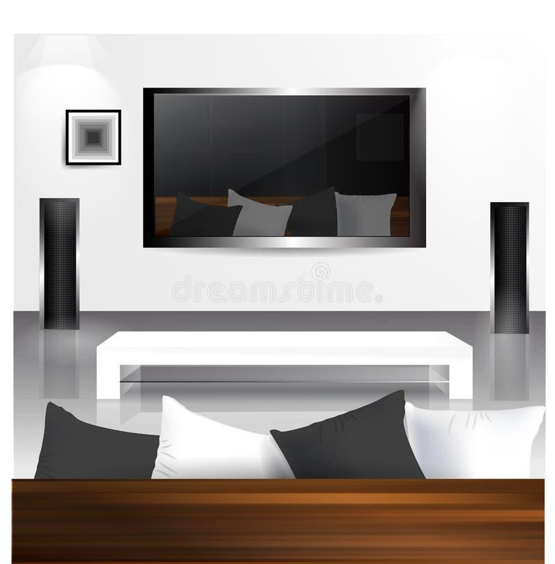 Binnenland met LCD het TVscherm royalty-vrije illustratie