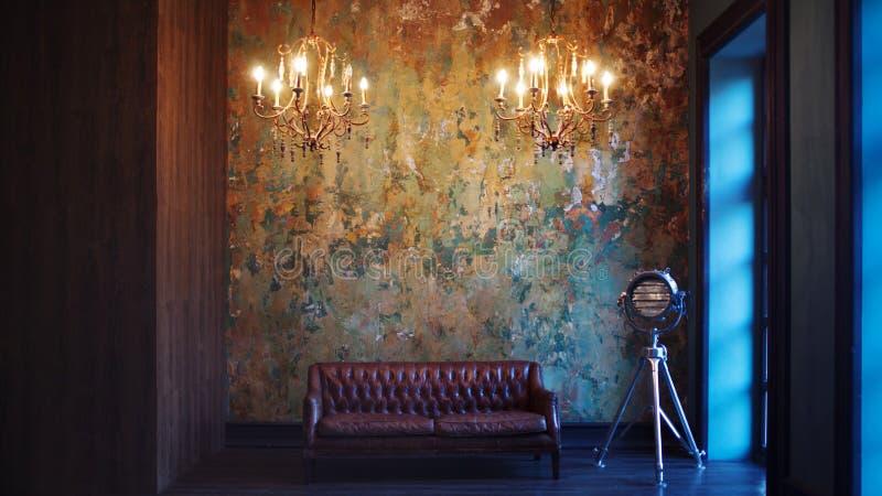 Binnenland met leerbank en luxelamp Geweven Achtergrond royalty-vrije stock foto