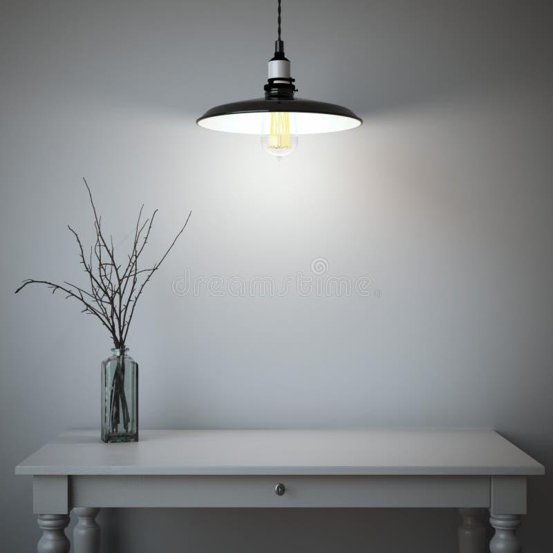Binnenland met lijst en lamp het 3d teruggeven stock fotografie