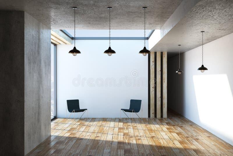 Binnenland met stoelen en lampen stock illustratie