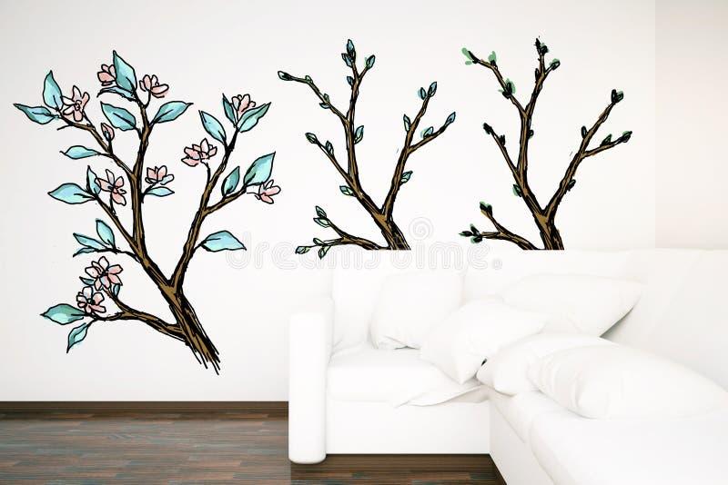 Binnenland met witte bank en getrokken bomen royalty-vrije illustratie