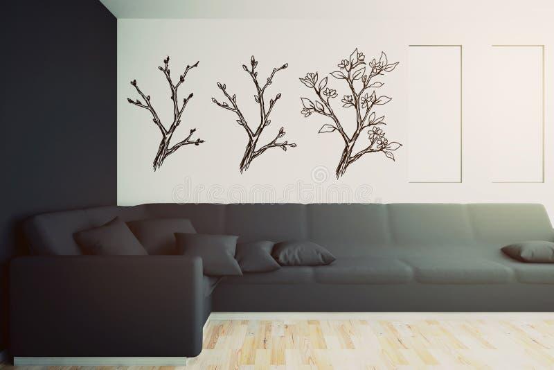 Binnenland met zwarte bank en getrokken bomen vector illustratie