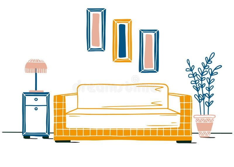 Binnenland in Skandinavische stijl Een deel van de ruimte Hand getrokken vectorillustratie stock illustratie