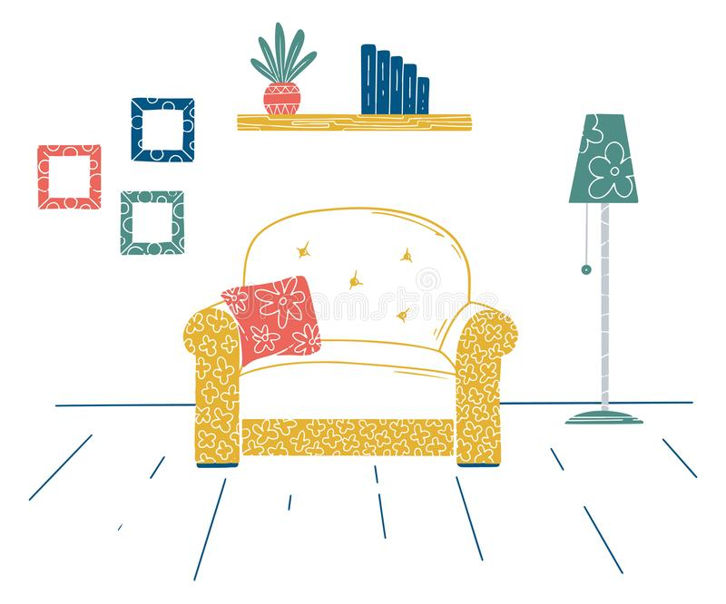 Binnenland in Skandinavische stijl Een deel van de ruimte Hand getrokken vectorillustratie vector illustratie