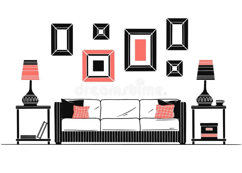 Binnenland in Skandinavische stijl Een deel van de ruimte Hand getrokken vectorillustratie royalty-vrije illustratie