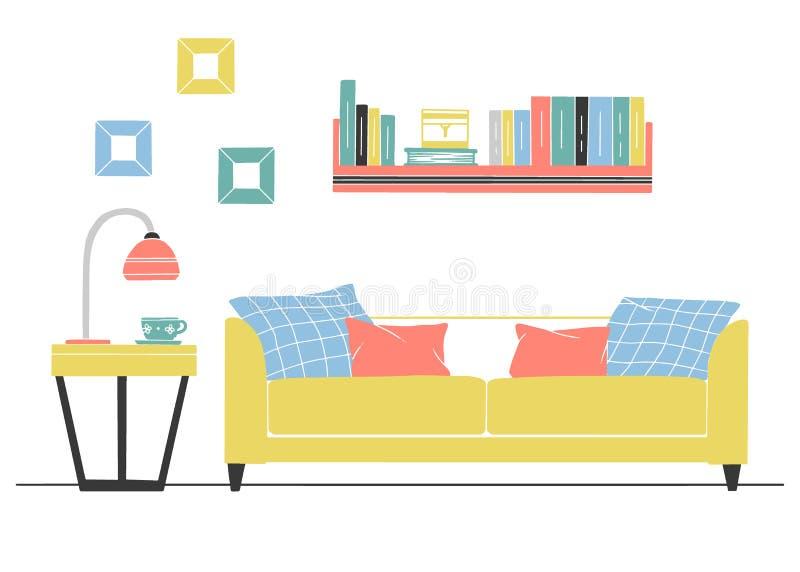 Binnenland in Skandinavische stijl Een deel van de woonkamer Hand getrokken vectorillustratie royalty-vrije illustratie