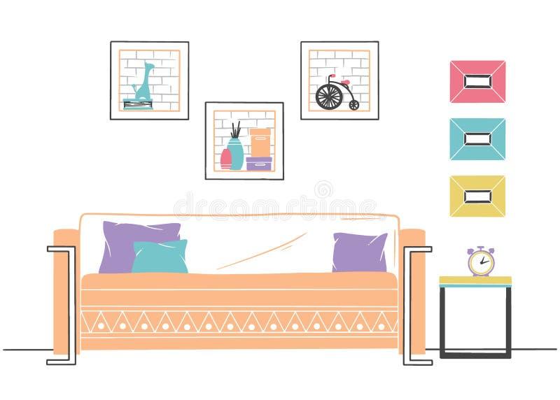 Binnenland in Skandinavische stijl Een deel van de woonkamer Hand getrokken vectorillustratie stock illustratie