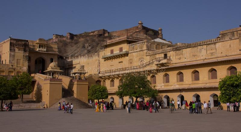 Binnenland van Amber Fort India stock foto