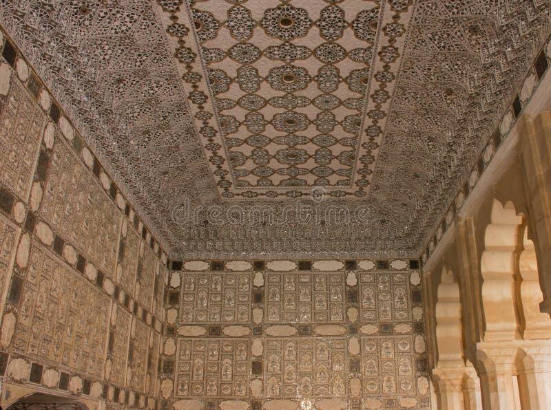 Binnenland van Amber Fort India stock afbeelding