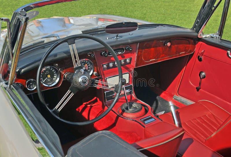 Binnenland van Austin Healy Sports Car royalty-vrije stock afbeelding