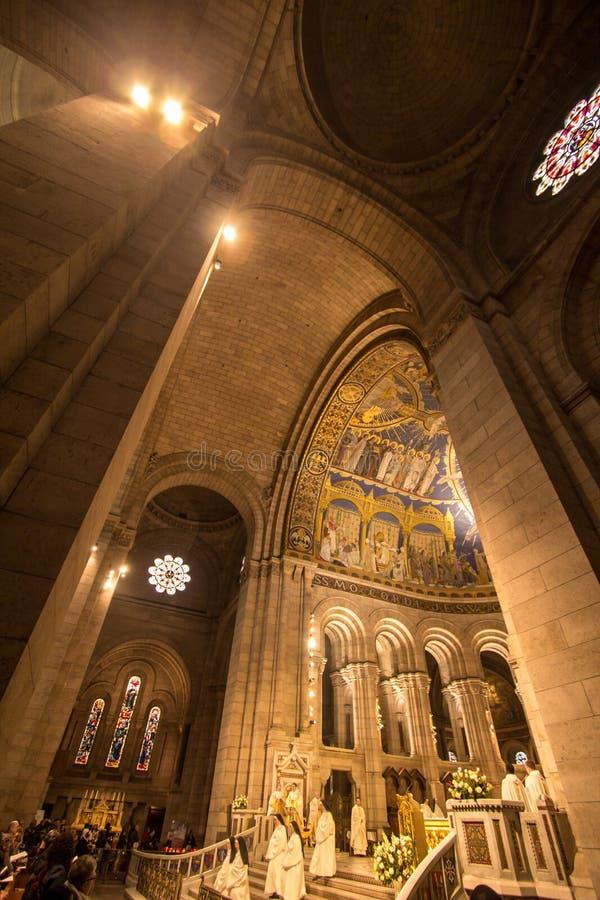 Binnenland van Basiliek Sacre Coeur, Parijs stock fotografie