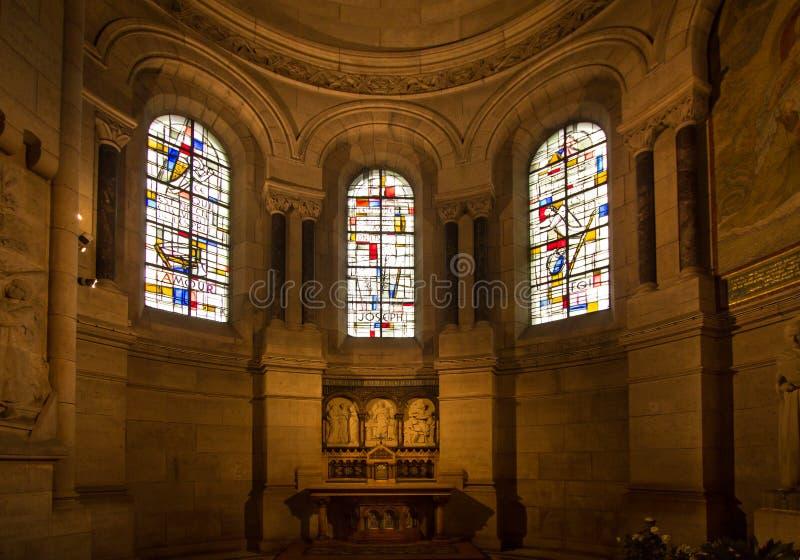 Binnenland van basiliek Sacre Coeur, Parijs, Frankrijk stock afbeeldingen