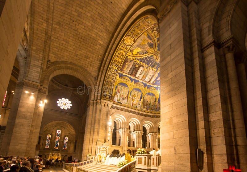 Binnenland van basiliek Sacre Coeur, Parijs, Frankrijk royalty-vrije stock afbeelding