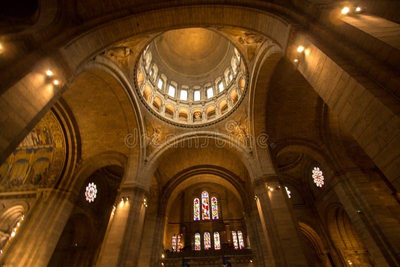 Binnenland van basiliek Sacre Coeur, Parijs, Frankrijk stock foto