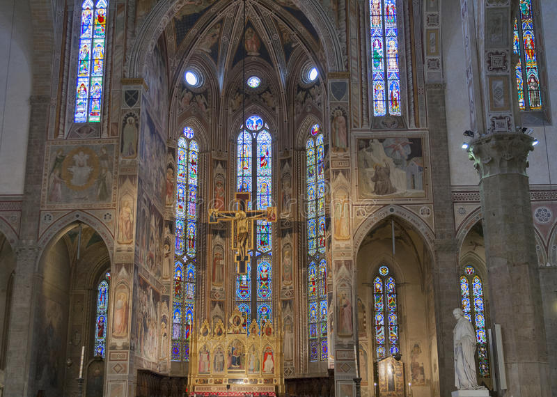 Binnenland van Basiliek Santa Croce in Florence, Italië royalty-vrije stock foto
