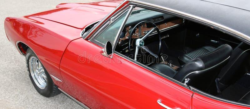 1969 Binnenland van Bloed het Rode Klassieke Pontiac GTO royalty-vrije stock foto's