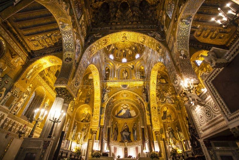 Binnenland van Capella Palatina Chapel binnen Palazzo-dei Normanni in Palermo, Sicilië, Italië stock afbeelding