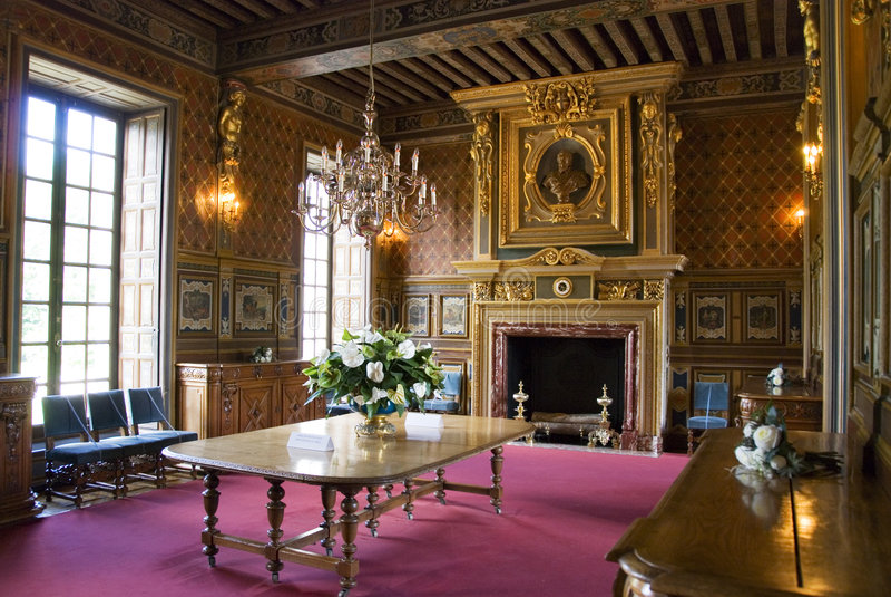 Binnenland van Chateau Cheverny royalty-vrije stock foto