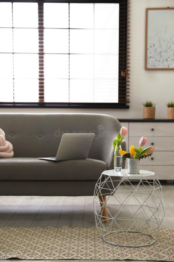 Binnenland van comfortabele woonkamer met bank royalty-vrije stock foto