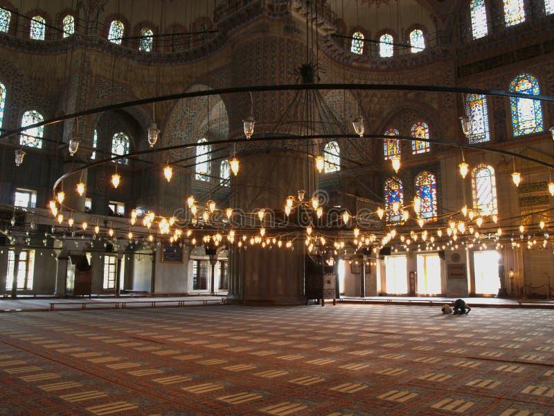 Binnenland van de Blauwe moskee stock foto