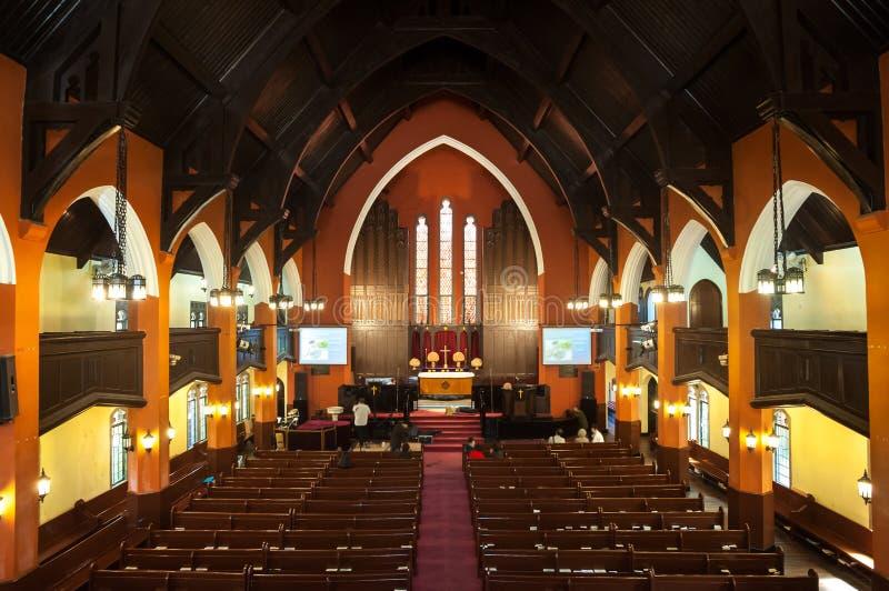 Binnenland van de Communautaire Kerk van Hengshan, Shanghai royalty-vrije stock afbeelding