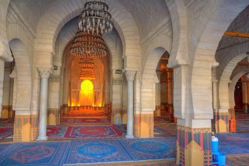 Binnenland van de Grote Moskee in Sousse royalty-vrije stock afbeeldingen