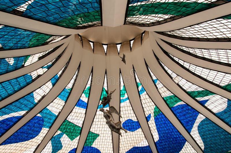 Binnenland van de Kathedraal in Brasilia stock afbeelding